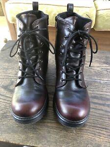 Lace Up Zip Tall Combat Boots BONGO steampunk faux Leather Sz 10 black cherry