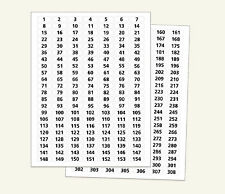 "#1- #308 WHITE STICKERS NUMBERED SEQUENTIAL~ 3/8"" x1"" GLOSSY LABELS Consecutive"