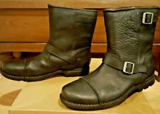 UGG AUSTRALIA ROCKVILLE II BLACK LEATHER SHEEPSKIN BOOTS LINED MOTORCYCLE STYLE