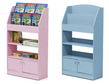 Children Room Bookcase Storage Unit with Shelves and Cupboards - Pink & Blue