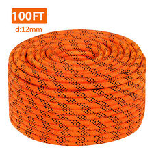 "7/16"" Double Braid Polyster Rope 100FT Nylon Rope 8400Lbs Breaking Strength"