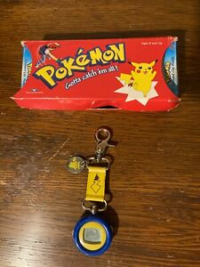 Pokemon Pikachu Animated Clip Buddy Pocket Watch used with box 1999 *works!*