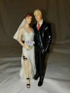 Wedding Cake Topper Bride & Groom Tender Touch Orange And Purple