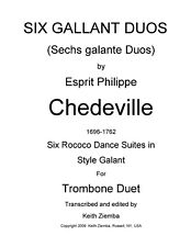 Trombone Duets 6 Gallant Duos Dance Suites by Chedeville  Rococo 28p New