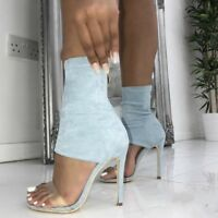 WOmen's  High Stilettos Heels Open Toe Stretchy Ankle Sandals Boots Party Shoes