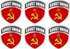 "6 - 2"" Soviet Union USSR flag shield decal badge vinyl hard hat sticker"