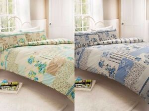 FREYA DUVET SET - PATCHWORK STYLE - DOUBLE KING SUPER KING - BLUE/TEAL