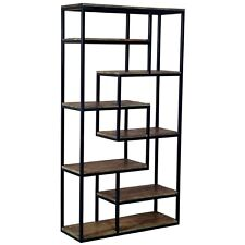 Tall Industrial Style Brown Wood Black Storage Furniture Shelf Shelving Unit
