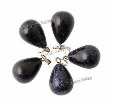 FREE Wholesale 5pcs Drop Black Gemstone Loose Beads Pendant Silver P Hook