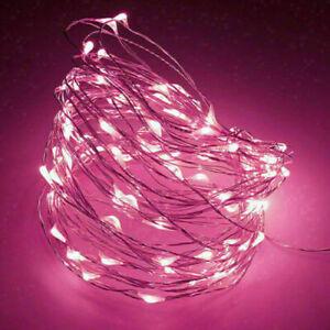 LED Lichterkette Batterie 10/20/50/100 Micro Draht Außen Innen Kaltes weiß