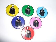 COLOURED NICKEL 'MILK CARTON' TAG-CHOOSE FROM 6 COLOURS-ENGRAVING & POSTAGE FREE