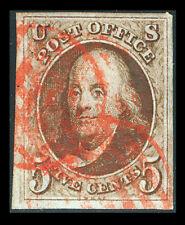 US #1a; 5¢ dark brown FRANKLIN, VF/XF-USED, CV $800