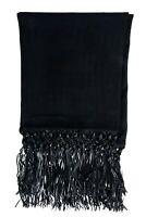 Max Mara Women's 100% Cashmere Black Fringed Shawl Scarf