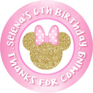 PINK & GOLD GLITTER MINNIE MOUSE ROUND BIRTHDAY PARTY STICKERS FAVORS LABELS