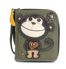 NEW CHALA OLIVE GREEN BROWN MONKEY ZIPPERED WALLET FAUX LEATHER