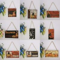 Halloween Autumn Greetings Wooden Plaque Hanging Board Pumpkin Home Wall Decor