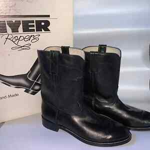 Vintage Hyer Roper Boots Hand Made Black Leather Size 10