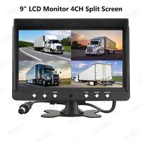 9 Zoll TFT 4CH Split Monitor Für Rückfahrkamera RÜCKFAHRSYSTEM LKW BUS 12V 24V