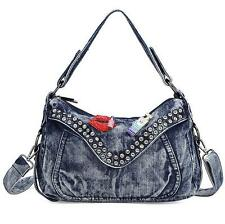 womens rivet messenger bag crystal denim bag handbag shoulder Bag