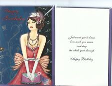 HAPPY BIRTHDAY CARD HAND MADE PARTY GIRL TRENDY BY TULIP STUDIO CARDS FREE P/P