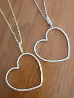 Women's Diamond Pendant Heart Shape with Chain in 14K White/14K Yellow Gold over