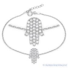 Hand of Fatima Jewish Hamsa Kabbalah Charm .925 Sterling Silver Crystal Bracelet