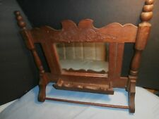 Antique Wooden Wall Wash Cloth Bath Room Towel Rack Comb Pocket Holder Mirror