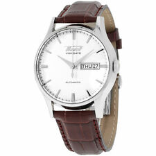 TISSOT VISODATE DAY-DATE AUTOMATIC WHITE DIAL T019.430.16.031.01 BROWN LEATHER