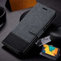 For Samsung Galaxy A20 A30 A40 A50 A70 A80 Wallet Case Canvas Leather Flip Cover