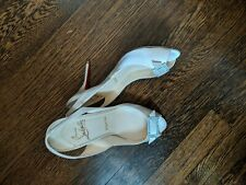 Christian Louboutin cream satin Sling Back pumps Authentic Size 37 1/2