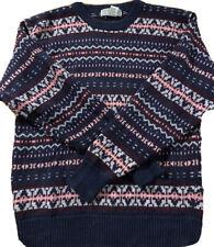 Vtg Vintage Crystal Kobe Sweater Size M Blue Maroon Gray Pink Nordic Fair Isle