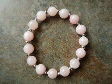 Pale Pink & White Quartz Bead Beaded Bracelet - Genuine Gemstone