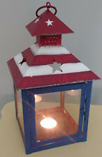 AMERICANA Glass Metal Birdhouse Teal Light Candle Holder Stars Stripes Red W & B
