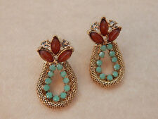 ANTHROPOLOGIE EARRINGS UNIQUE TEAL BEAD COPPER RHINESTONE POST GOLD TONE #110
