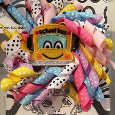 Kids Hair Clip back to School bus curly bow Fun itsallonmyhead Free ship USA