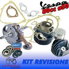 KIT REVISIONE GRUPPO TERMICO + ALBERO MOTORE D50 80cc PIAGGIO VESPA 50 PK HP
