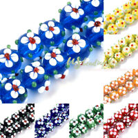 45pcs/Strd Handmade Lampwork Glass Beads Round w/ Embossed Flower Spacer 11~12mm