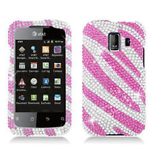 Huawei Fusion 2 Crystal Diamond BLING Hard Case Phone Cover Silver Pink Zebra