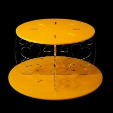Heart Design Round Single Tier Cake Stand - Yellow
