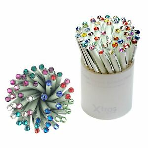 Pack Of 50 White Ballpoint Pens Topped With Mixed Colour Swarovski Elements