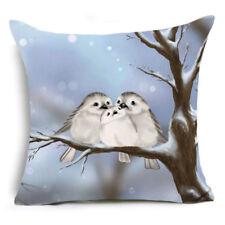 Cushion Cover Sofa Pillow Case WINTER BIRDS Design 45cm x 45cm Linen Cotton NEW