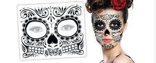 3 Day Of The Dead  Dia de los Muertos Face Mask TEMPORARY TATTOO Halloween