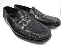 Alfani  Italian Leather Woven Shoes Basket Weave Black Loafers Mens Size 13