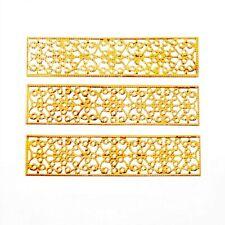 20 Gold Tone Rectangle Filigree Flower Wraps Connectors Metal Decoration DIY