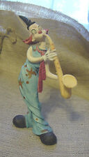 "Circus Clown Figurine Playing Horn Musical Instrument 8-5/8"" Tall Vintage Gc vtm"