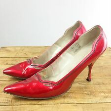 Pumps Red Patent Heels Women's 8 VTG 50's Fetish Pinup Joseph I. Magnin Pointed
