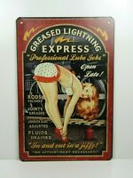 PB90N PLAQUES TOLEE vintage 20 X 30 cm : Pin'up Greased Lightning Express