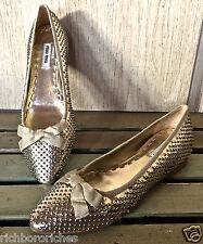 NIB MIU MIU muted gold leather studded point toe ballet flats bow 36.5