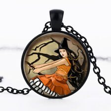 Witch on Broom photo dome Black Cabochon Glass Necklace chain Pendant