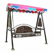 vintage style wooden & wrought Iron Swing for Home patio &Garden Floor-Standing